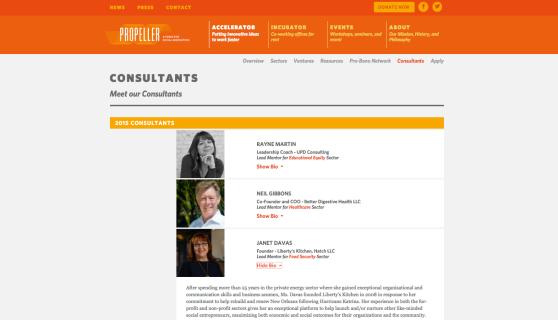 Propeller 2015 Consultants: Janet Davas